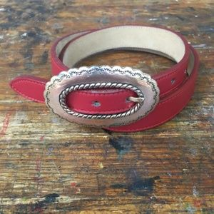 Vintage Justin Red Leather Belt/Silver Buckle